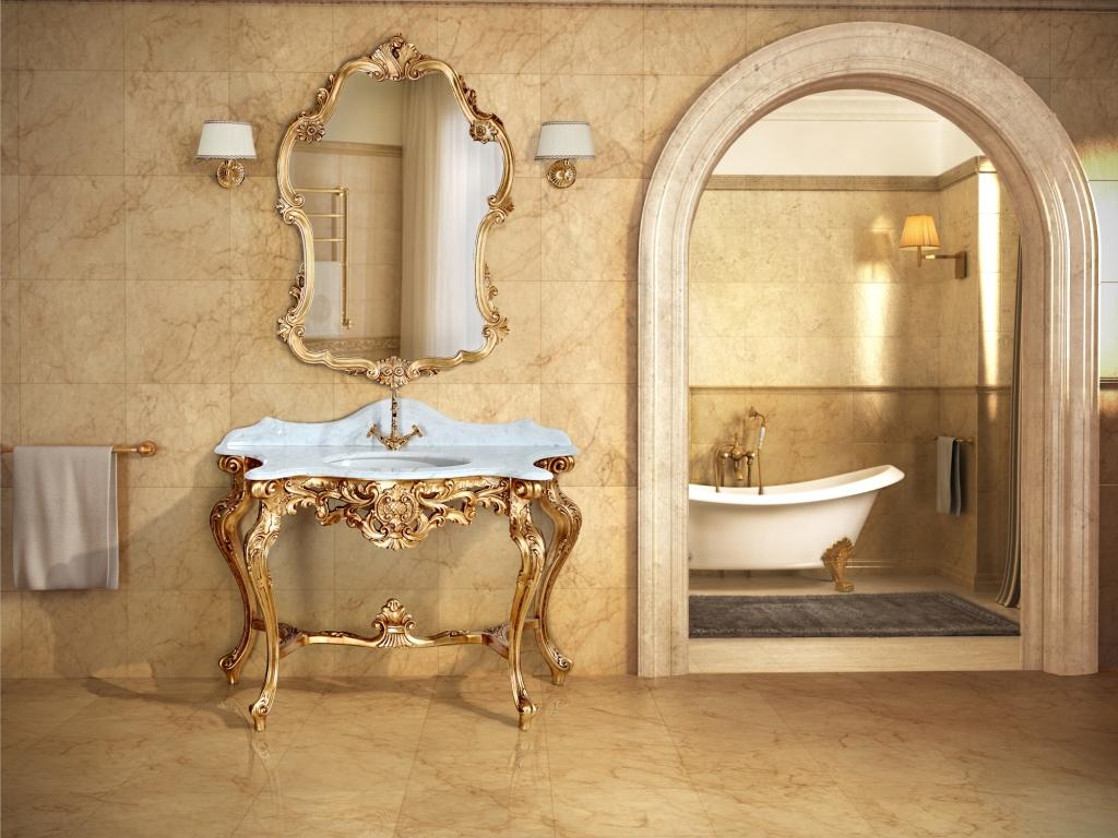 Bagno in oro for Arredo bagno barocco