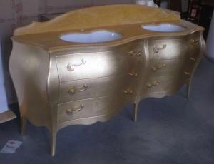 6 barocco doppio lavabo bassorilievo oro